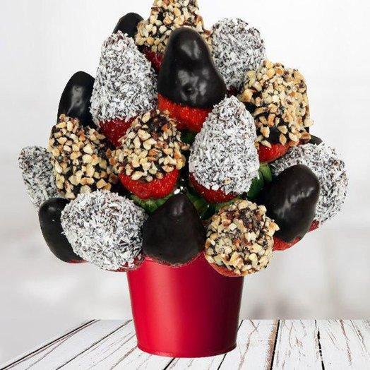 Фруктовый букет ШОКОЛАДНОЕ УДОВОЛЬСТВИЕ: букеты цветов на заказ Flowwow