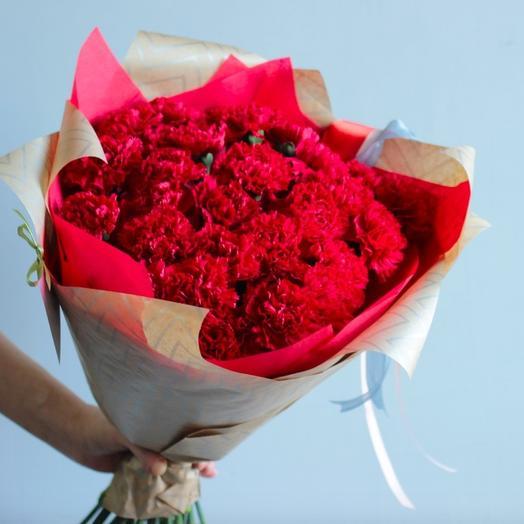 23 бордово-красных гвоздики: букеты цветов на заказ Flowwow