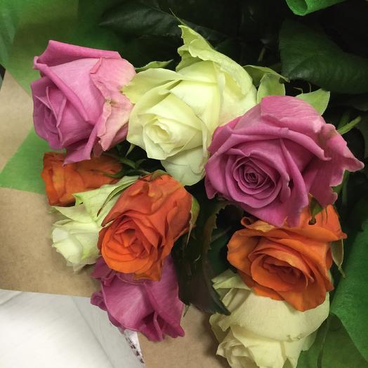 9 Роз Mini Mix: букеты цветов на заказ Flowwow