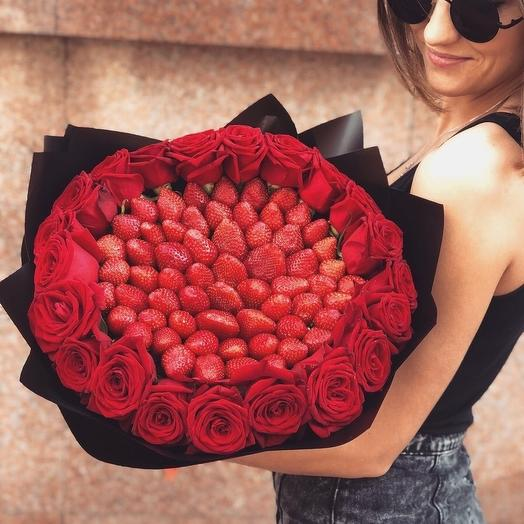 Букет клубничный «Чистое сердце»: букеты цветов на заказ Flowwow