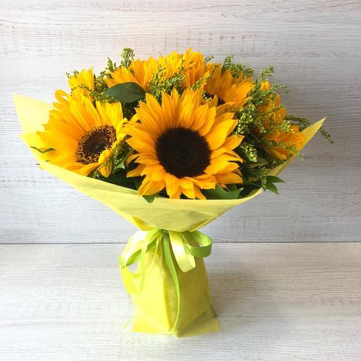 Букет подсолнухов: букеты цветов на заказ Flowwow