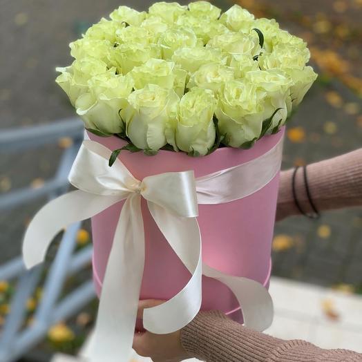 31 Белая в Розовой Коробке: букеты цветов на заказ Flowwow