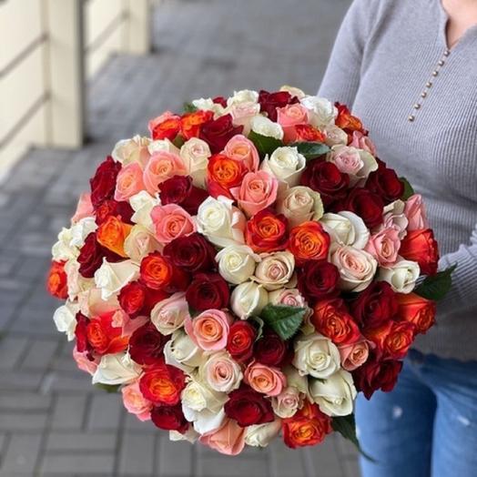75 роз Кения 42 см в ленте: букеты цветов на заказ Flowwow