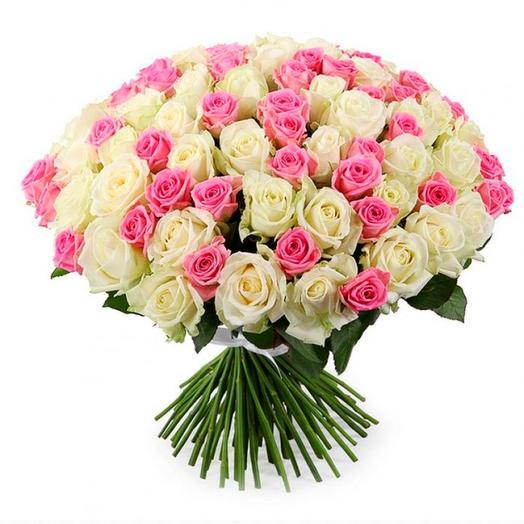 101 бело-розовая роза (50 см)