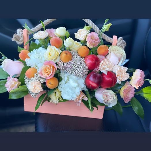 Ящик с цветами «Абрикос»🍑🌿⭐️🍓