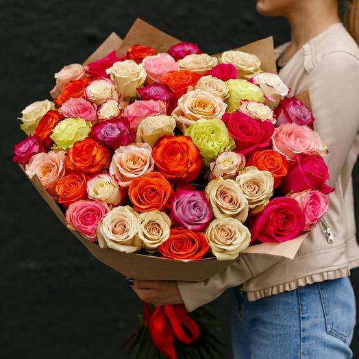 Букет из 51 розы микс Эквадор 50 см