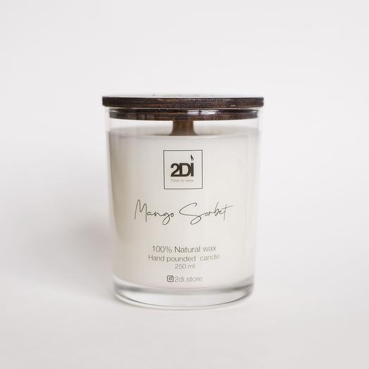 Натуральная аромасвеча ручной работы 90 мл - Mango Sorbet, Манговый сорбет