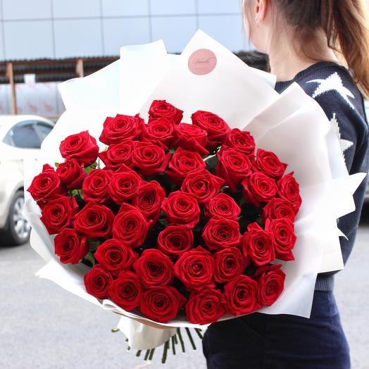41 ароматная роза в нежной упаковке