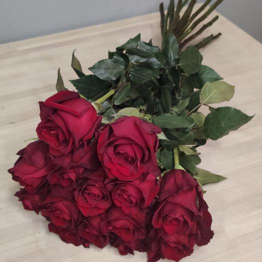 Букет из 15 бордовых роз 60 см