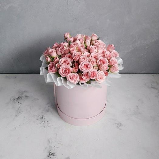 """Коробка """"15 кустовых розовых роз """""""