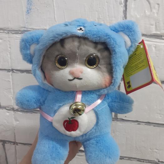 Котик в костюме мишки (22см)