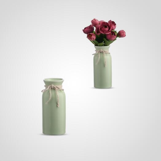 Ваза-Бутылка Керамическая Зеленая S