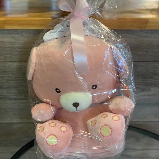 Мишка плюшевый розовый