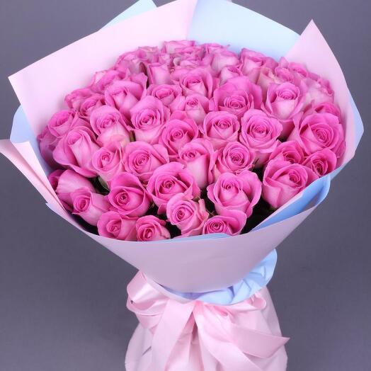 51 розовая роза Аква премиум