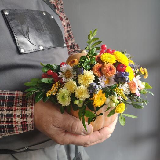 Тыква с цветами