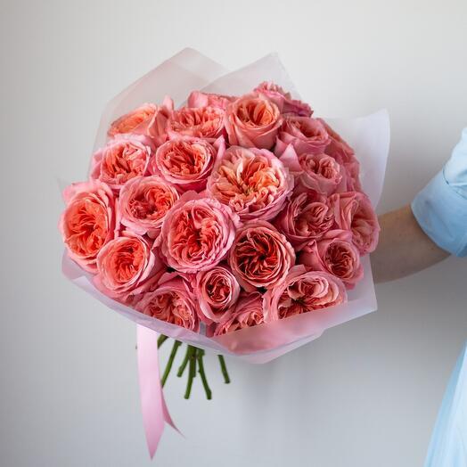 25 пионовидных роз сорта Пинк Экспрешн