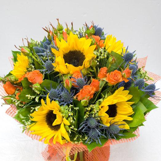 Букет из подсолнухов Утро в ноябре: букеты цветов на заказ Flowwow
