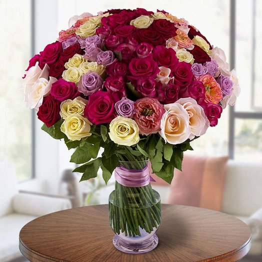 Букет 101 ароматная роза Арбода: букеты цветов на заказ Flowwow