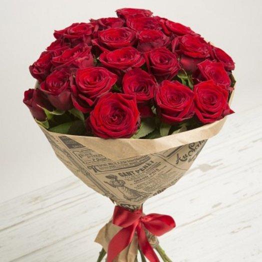 21 роза в крафте: букеты цветов на заказ Flowwow