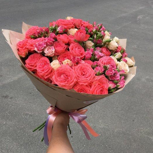 Монобукет 19 микс кустовых роз