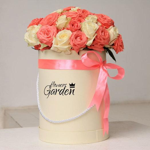 ШЛЯПНАЯ КОРОБКА L ИСКУССТВО WHITE: букеты цветов на заказ Flowwow
