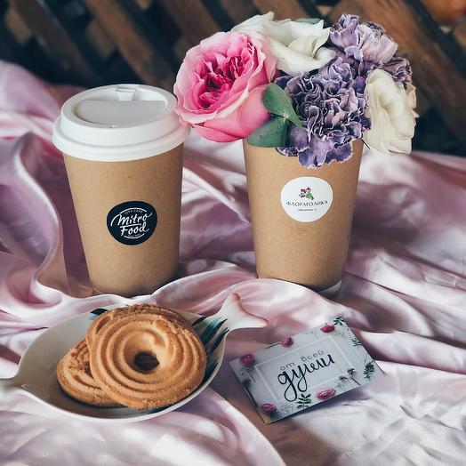 Набор 2 Кофе + Цветы: букеты цветов на заказ Flowwow