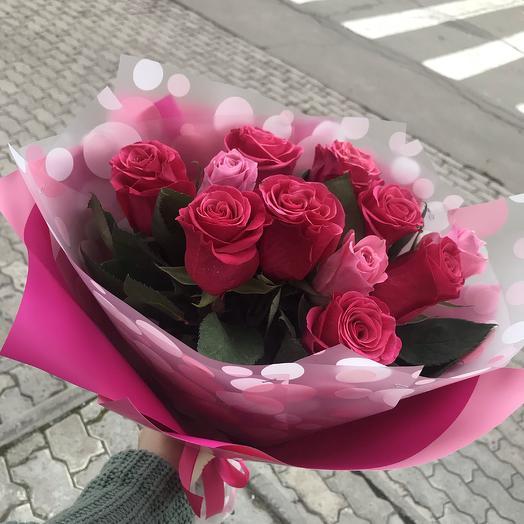 11 розовых зефирных роз