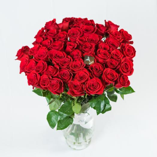 51 роза 70 см в букете (Эквадор)