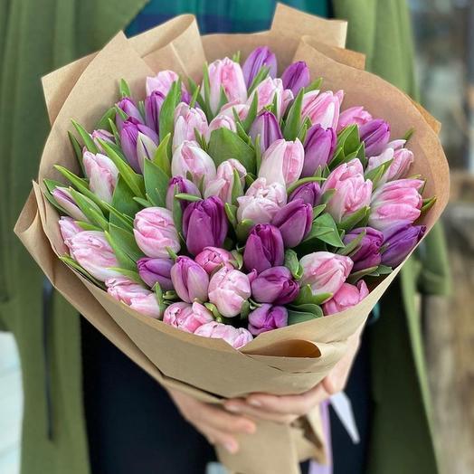 51 Тюльпан микс (Розовый / сирень): букеты цветов на заказ Flowwow