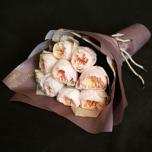 """9 пионовидных роз """"Дэвид Остин"""" 50 см: букеты цветов на заказ Flowwow"""