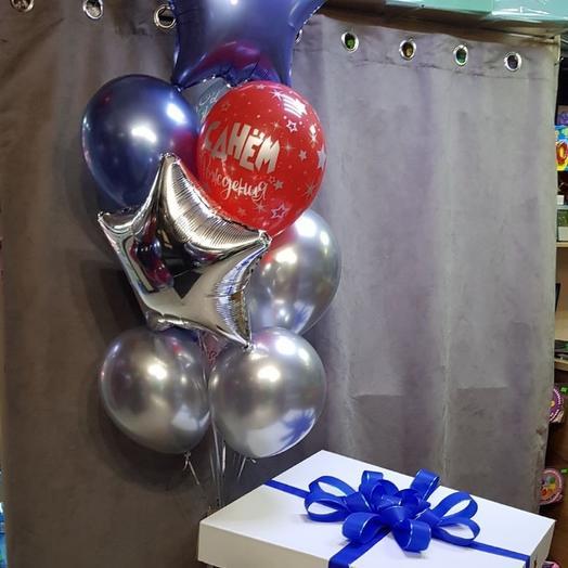 Каскад шаров в большой коробке с бантом
