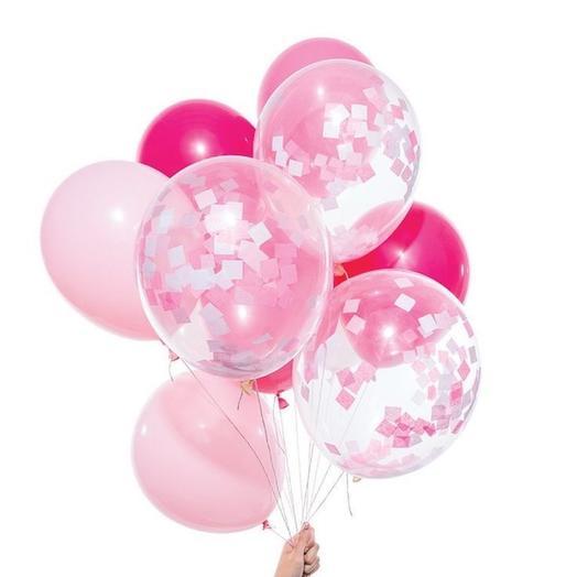 Каскад из 9 воздушных шариков