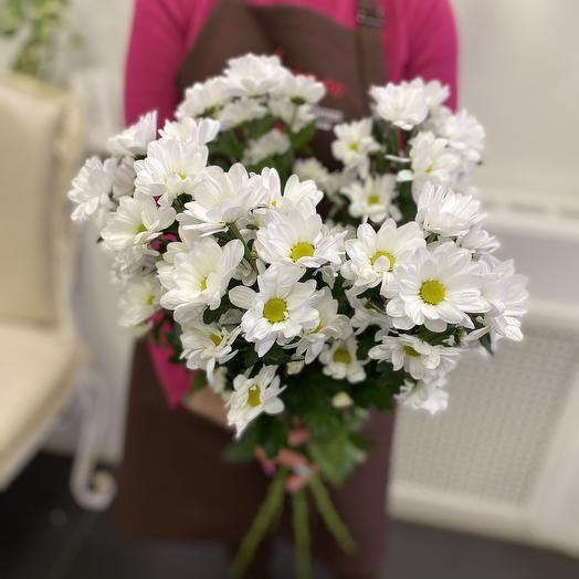 5 белых кустовых хризантем под ленту