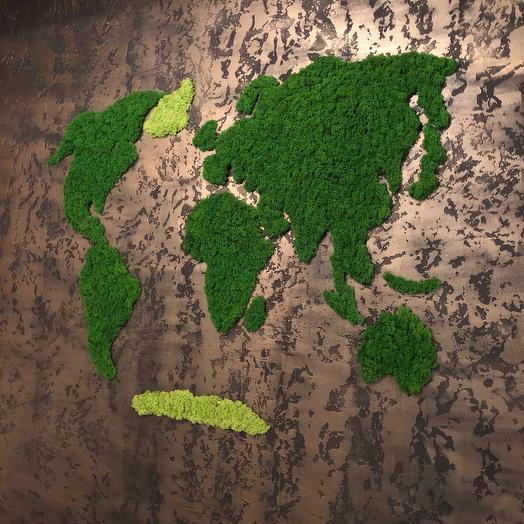 Карта мира из мха Ягель 160*120