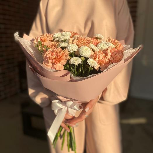 Дуобукет из диантусов и хризантем