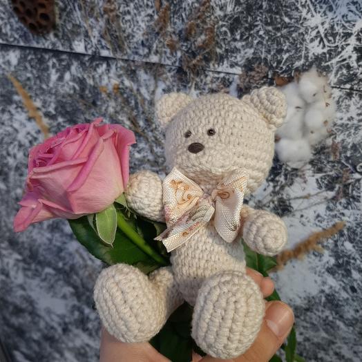 Мишка ручной работы и роза