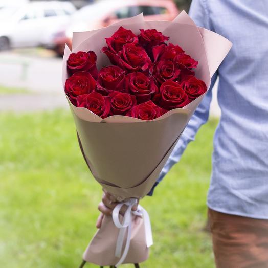 Букет из 15 роз сорта Эксплорер 60см