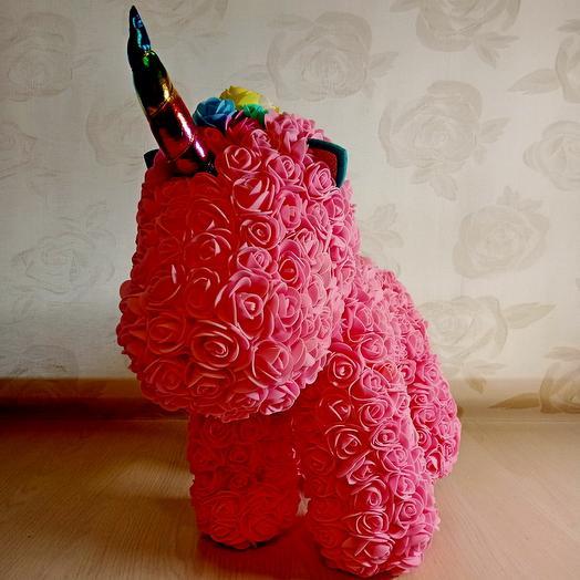 Игрушка из роз Единорог ручной работы - Розовый