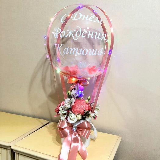 Цветы а коробке с баблс