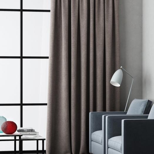 Негорючая портьера Эклипсо Серо-коричневый, 145х280 см - 1 шт