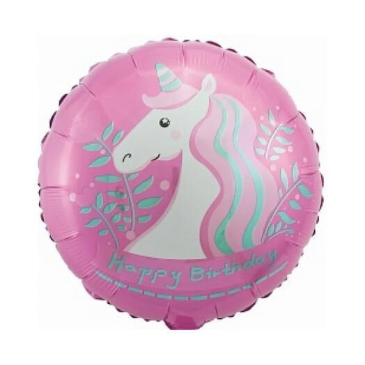 Шар с днем рождения «единорог» розовый