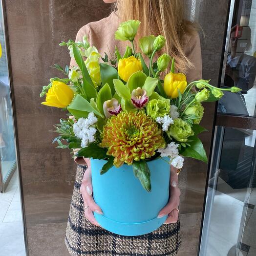 Летние солнечные Цветы в коробке