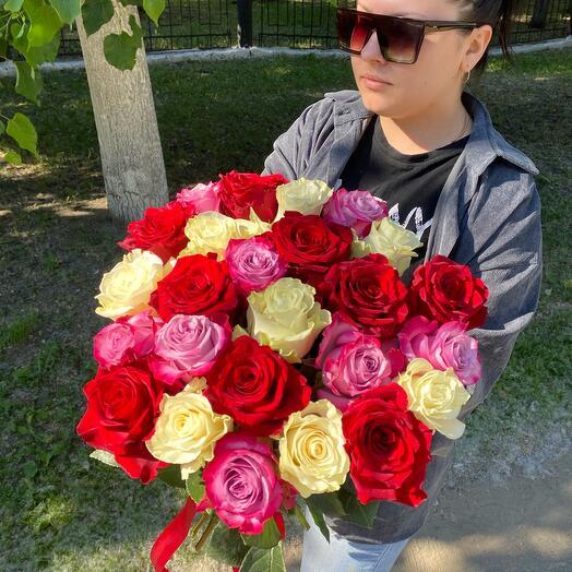 Букет 25 роз Микс 60 см