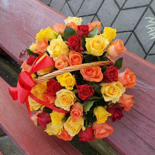 51 roses in the basket: flowers to order Flowwow