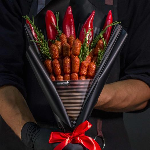 Мужской букет из колбасы 1: букеты цветов на заказ Flowwow