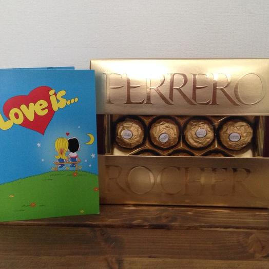Конфеты Ферреро и открытка с шоколадками