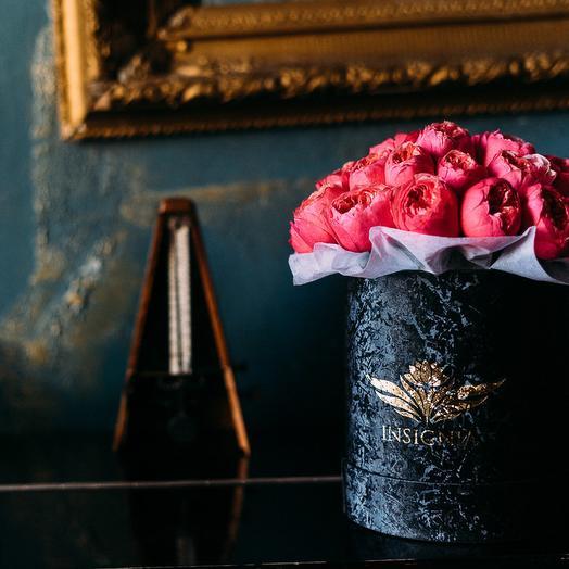 """Цветы в шляпной коробке """"Golden"""": букеты цветов на заказ Flowwow"""