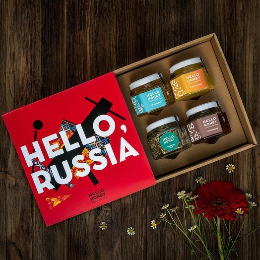 Подарочный набор мёда «Hello, Russia», 4 банки: букеты цветов на заказ Flowwow