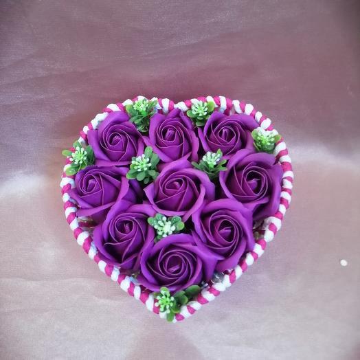 Сердечко из мыльных роз: букеты цветов на заказ Flowwow