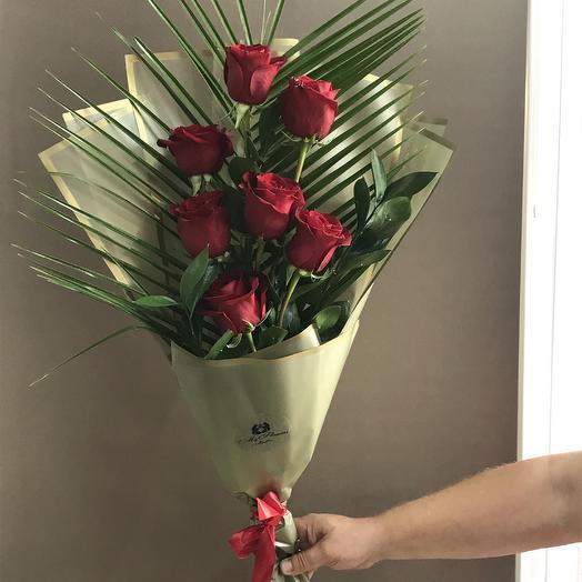 Букет из 7 красных роз: букеты цветов на заказ Flowwow